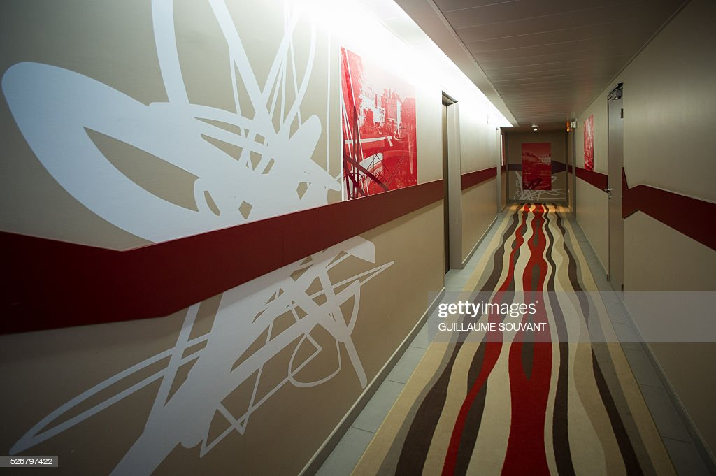 A picture taken on April 29, 2016 in Tours, central France, shows an interior view of the Chateau de Belmont hotel, which will host the Czech national football team during the Euro 2016 football championships. / AFP / GUILLAUME