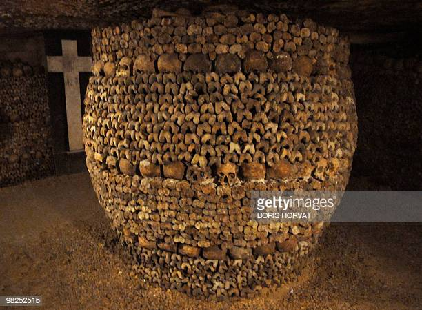 Picture taken on April 3 2010 at the Catacombs of Paris shows skulls and bones These subterrainian quarries had been used to store the remains of...