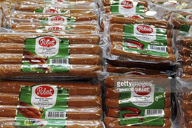 A picture taken on April 3 2012 shows halal sausages at a stand of Halal food products during the 9th International Halal and oriental products trade...