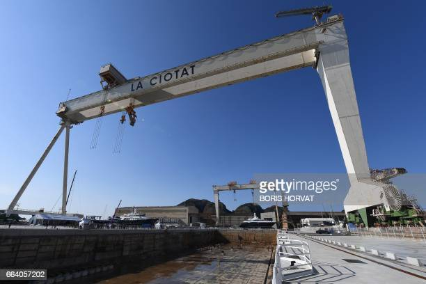 A picture taken on April 3 2017 shows a view of the 'Grande Forme' a 200mx60m drydock to refit and repair megayachts during its opening ceremony at...