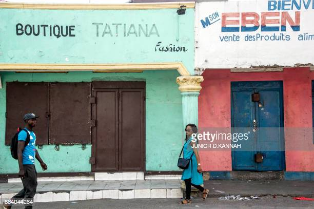 A picture taken on April 3 2017 shows the closed shops in Kinshasa during a general strike called by the opposition A general strike called by the...
