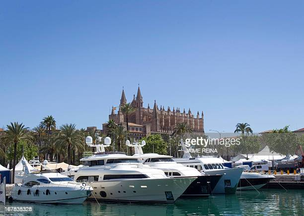 A picture taken on April 30 2013 shows yachts docked at Palma de Mallorca's harbour before the 30th edition of the 'Palma Boat Show' AFP PHOTO /...
