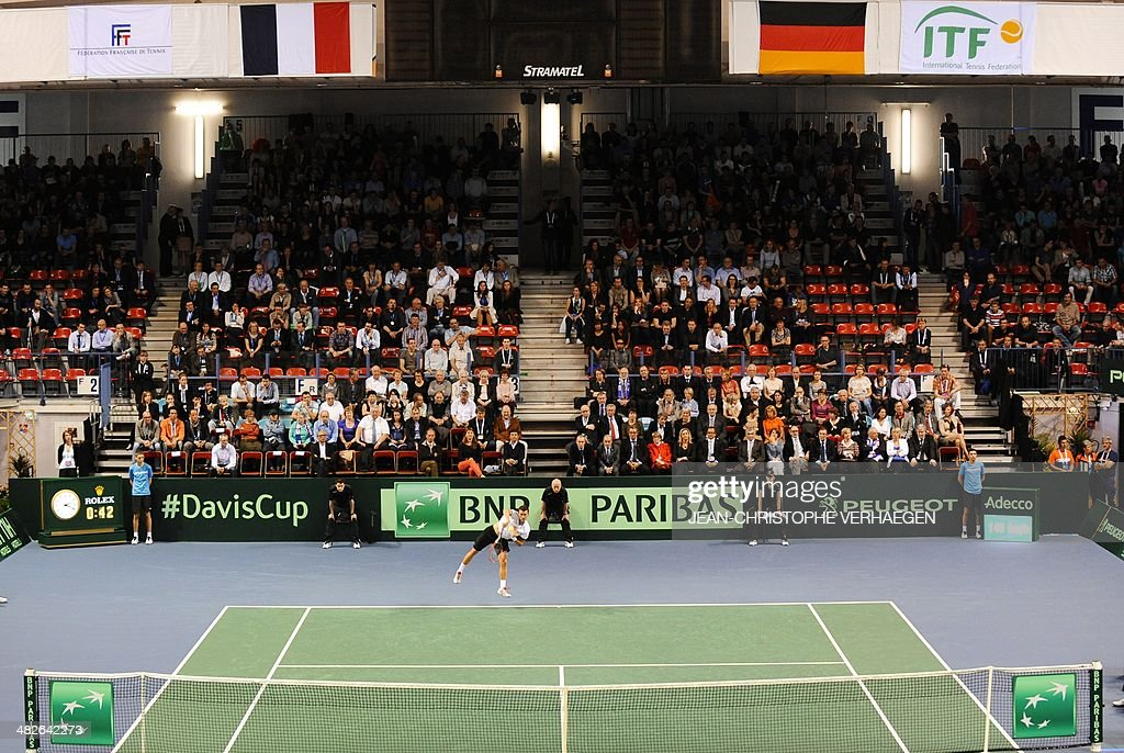 A picture taken on April 4 2014 in Nancy eastern France shows the tennis court during the Davis Cup tennis 2014 World group quarterfinal match...