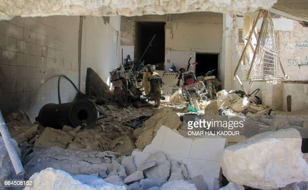A picture taken on April 4 2017 shows destruction at a hospital in Khan Sheikhun a rebelheld town in the northwestern Syrian Idlib province following...