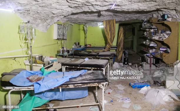 TOPSHOT A picture taken on April 4 2017 shows destruction at a hospital room in Khan Sheikhun a rebelheld town in the northwestern Syrian Idlib...