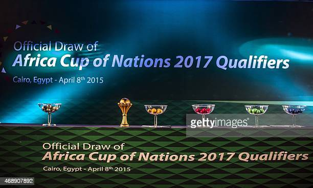 A picture taken on April 8 2015 shows the stage ahead of the draw for the 2017 Africa Cup of Nations qualifiers in Cairo The CAF announced that Gabon...