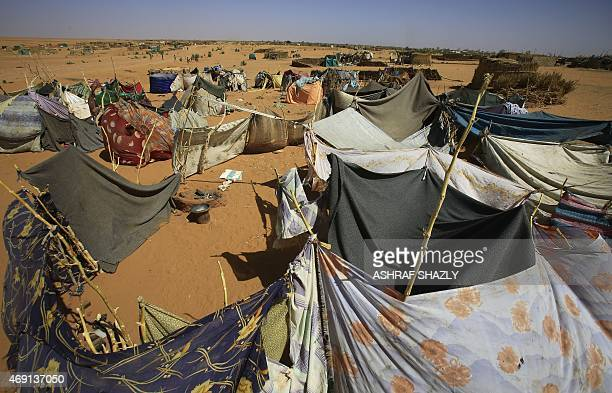 A picture taken on April 9 2015 shows a general view of the Zam Zam camp for Internally Displaced People North Darfur Sudan heads to the polls next...