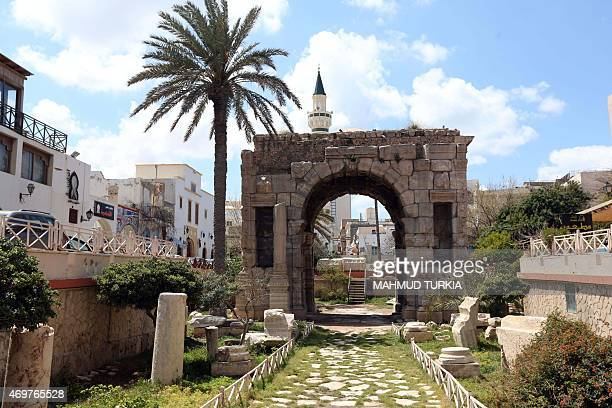 A picture taken on April 9 2015 shows the Arch of Marcus Aurelius in the city of Oea in modern Tripoli Libya For over two thousand years the old city...