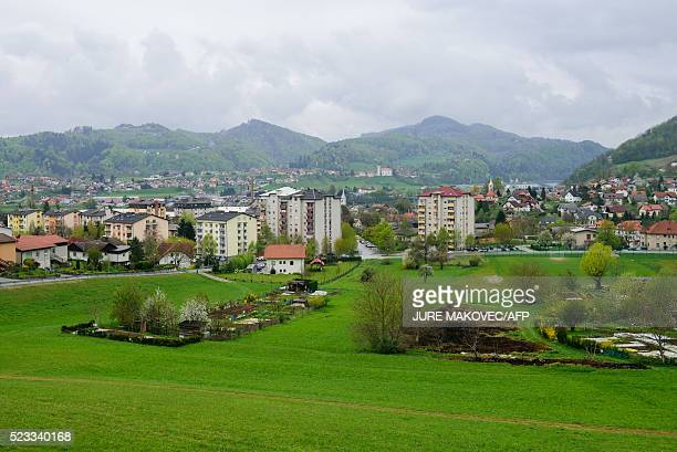 A picture taken on April 9 2016 shows a general view of the hometown of Donald Trump's wife Melania Trump in Sevnica Until recently Sevnica was best...
