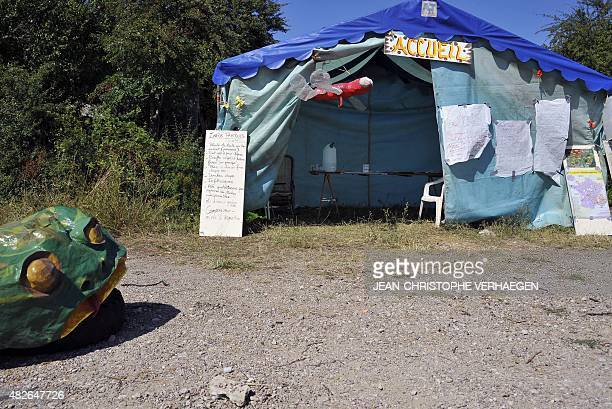 A picture taken on August 1 2015 between Lumeville and MandresenBarrois eastern France shows the reception tent of the 'VMC camp' which will take...