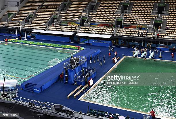 A picture taken on August 10 2016 at the Maria Lenk Aquatics Stadium in Rio de Janeiro shows the Water Polo pool and the diving pool of the Rio 2016...