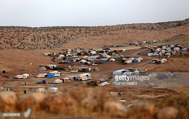 A picture taken on August 16 2015 shows a makeshift camp for displaced Iraqis from the Yazidi community who fled violence between Islamic State group...