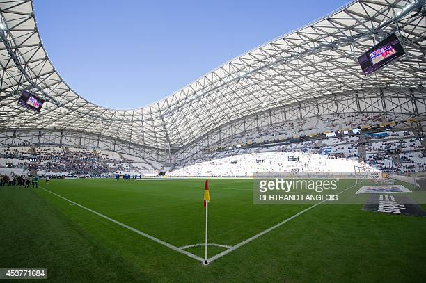 A picture taken on August 17 2014 in Marseille southern France shows the Velodrome stadium prior to the French L1 football match Olympique de...