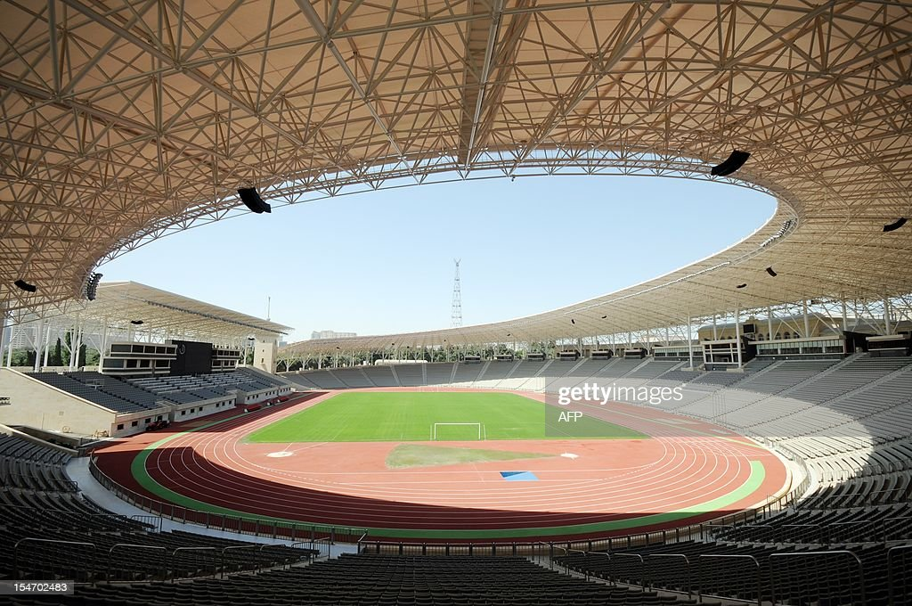 A picture taken on August 17 shows a general view of the pitch and stands inside Tofik Bahramov Stadium the home ground for Neftchi in Baku the...