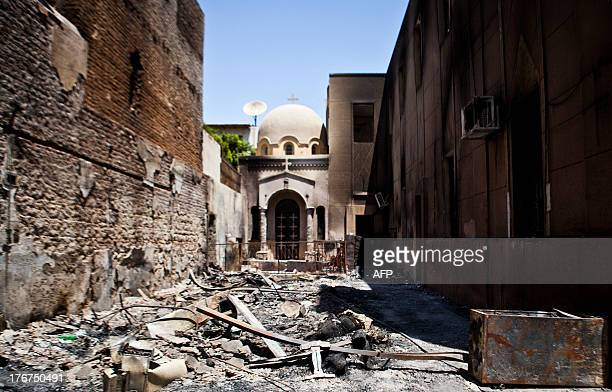 A picture taken on August 18 2013 shows the Amir Tadros coptic Church in Minya some 250 kms south of Cairo which was set ablaze on August 14 2013...