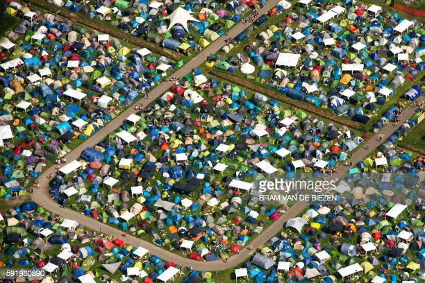 TOPSHOT A picture taken on August 19 2016 shows an aerial view of the camping site in the first day of the 2016 Lowlands Music Festival in...