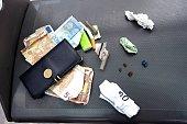 A picture taken on August 2 2013 at the Porte de La Chapelle in Paris shows pocket's content of a crack dealer AFP PHOTO MIGUEL MEDINA