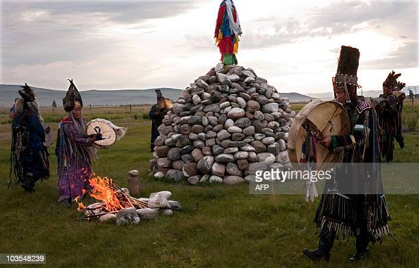 A picture taken on August 20 2010 shows shamans of Tyva Republic performing a shamanistic ritual ceremony at sacred site outside Kyzyl AFP PHOTO /...