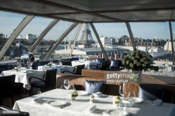 A picture taken on August 21 2014 in Paris shows the restaurant of 'The Peninsula Paris' hotel in Paris Luxury Hong Kong hotel group Peninsula Hotels...