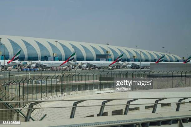A picture taken on August 21 2017 in the airport of Dunbai UAE Dubai International Airport the largest airport in space in the world and busiest...