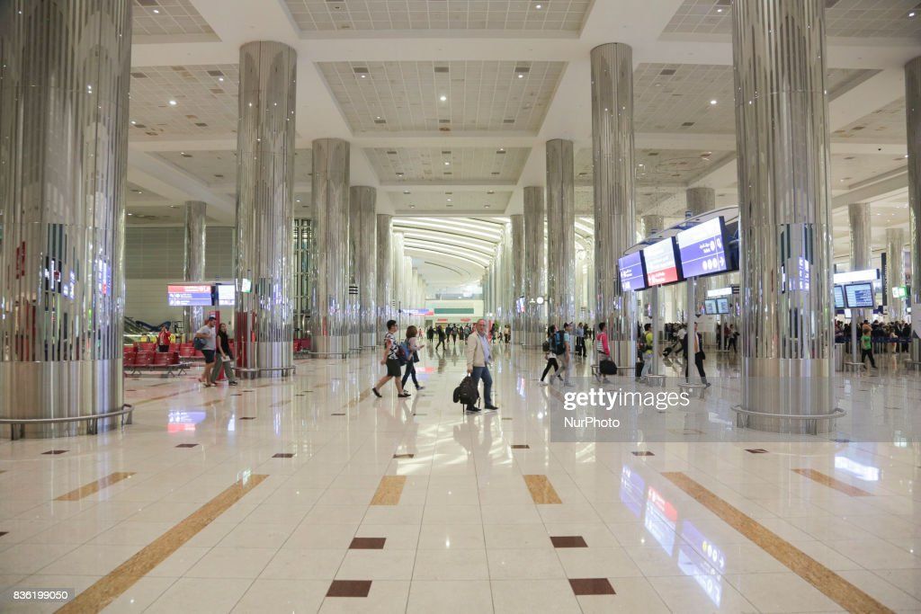 A picture taken on August 21, 2017 in the airport of Dunbai, UAE. Dubai International Airport, the largest airport in space in the world and busiest airport by international passenger traffic. It is also the 3rd busiest airport in the world by total passenger traffic. About 84.000.000 million passengers passed in 2016 from DXB. Emirates and Fludubai are the primary users of the airport, connecting Middle East to all over the world. Also FedEx Express and Qantas uses the airport as a hub.