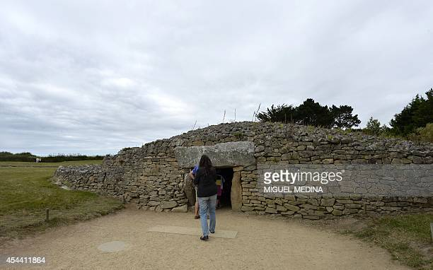 A picture taken on August 22 2014 shows the entrance of the 'Table des marchands' dolmen with some engraved stones dating between 3500 and 4000 BC...