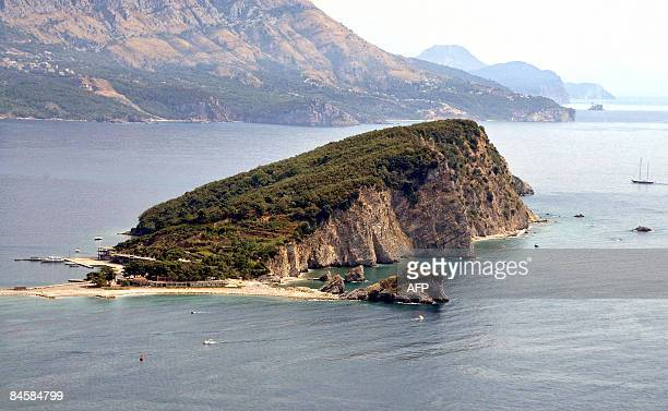 A picture taken on August 22 shows the little Montenegro island Sveti Nikola A Montenegrin bank has put up for sale part of an island after siezing...