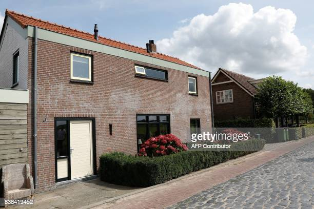 A picture taken on August 24 2017 shows the house of the 22yearold suspect who was arrested in Langeweg The Netherlands following a terror threat at...