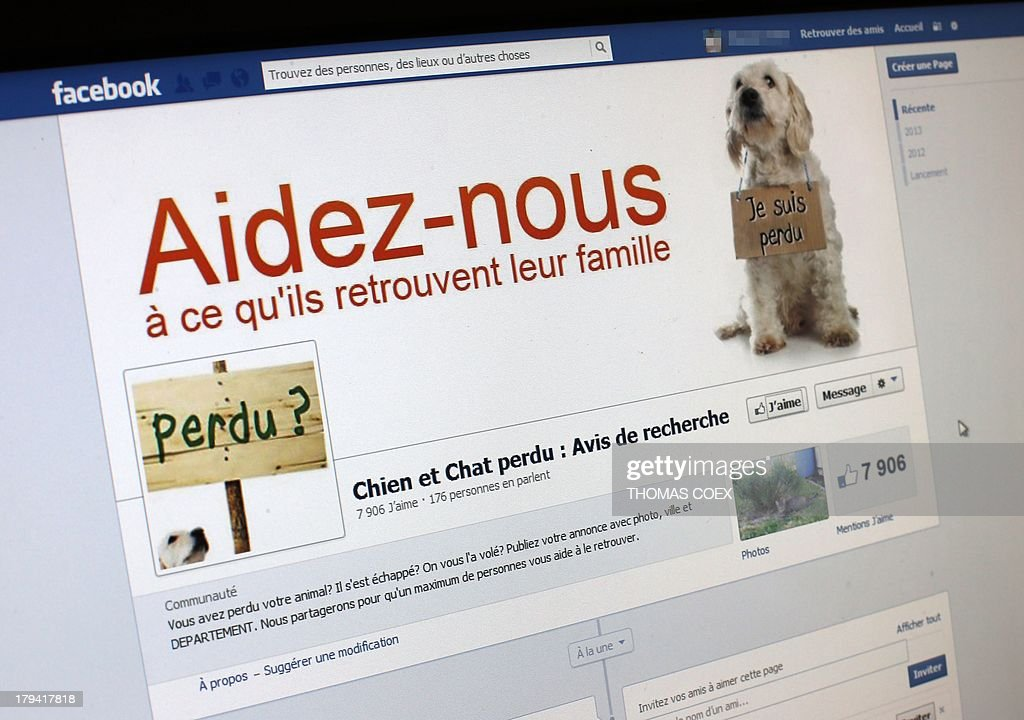 A picture taken on August 29, 2013 in Paris, shows the front page of a Facebook website. In the recent years, people have used Facebook to find back their lost dogs and cats through social networks such as Facebook and Twitter. AFP PHOTO / THOMAS COEX