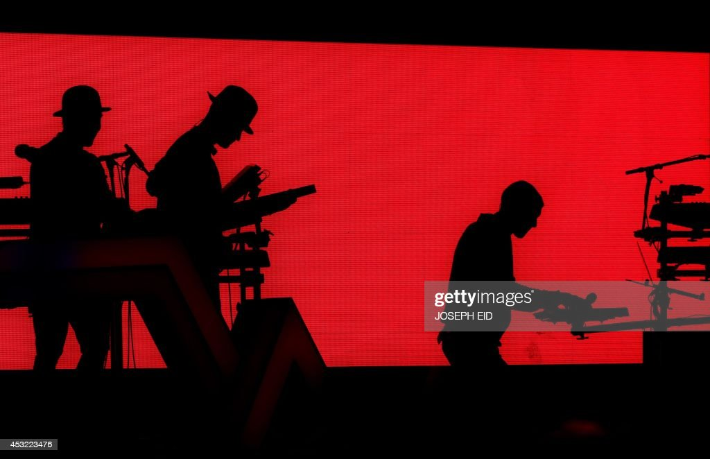 A picture taken on August 5, 2014 shows a scene from the performance of Belgian singer and songwriter Paul Van Haver, better known by his stage name Stromae, at the Byblos International Festival in the ancient Mediterranean port of the same name, north of the Lebanese capital Beirut.