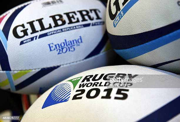 A picture taken on August 6 2015 in Paris shows the official ball of the 2015 Rugby World Cup in England The World Cup will take place from September...