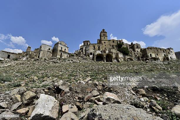 A picture taken on August 8 2015 shows the small town of Craco near Potenza Due to a landslide the inhabitants of the town of Craco were evacuated in...