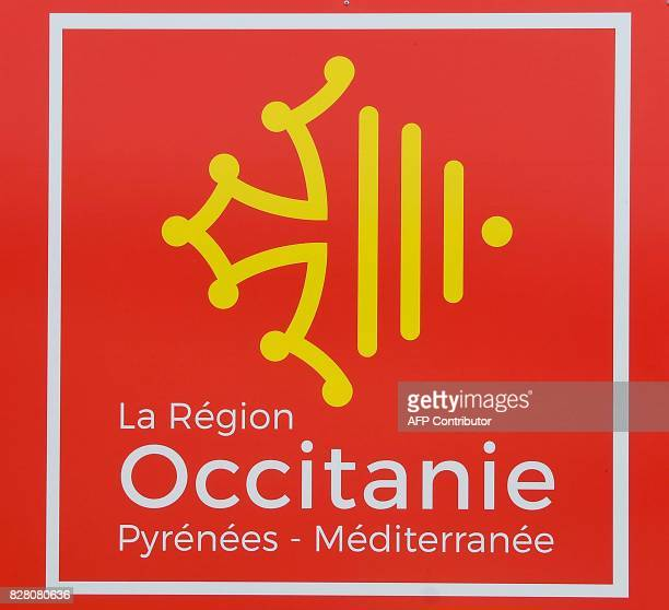 A picture taken on August 9 2017 in Toulouse shows the logo of the OccitaniePyreneesMéditerranee region / AFP PHOTO / PASCAL PAVANI