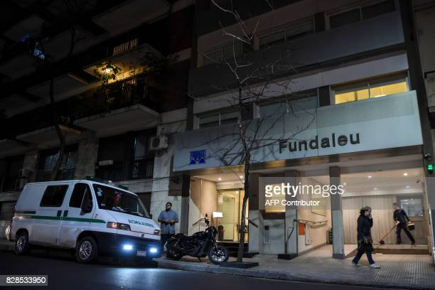 Picture taken on August 9 showing the facade of the Fundaleu clinic in Buenos Aires where Jorge Zorreguieta the father of Argentinaborn Maxima...