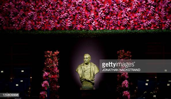 A picture taken on December 10 2010 shows the statue representing Swedish industrialist Alfred Nobel at the Stockholm Concert Hall in Stockholm...