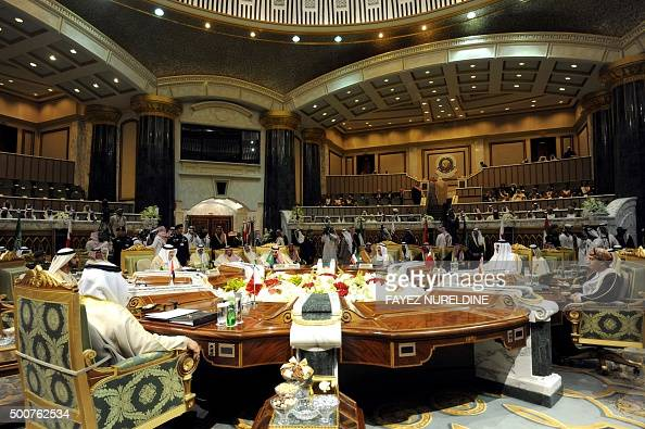 A picture taken on December 10 2015 shows a general view of the second day of the 136th Gulf Cooperation Council summit held in Riyadh Kings and...