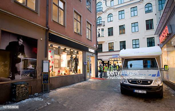 A picture taken on December 13 2010 shows the corner shows the corner of Bryggaregatan and Drottninggatan street in central Stockholm where an...
