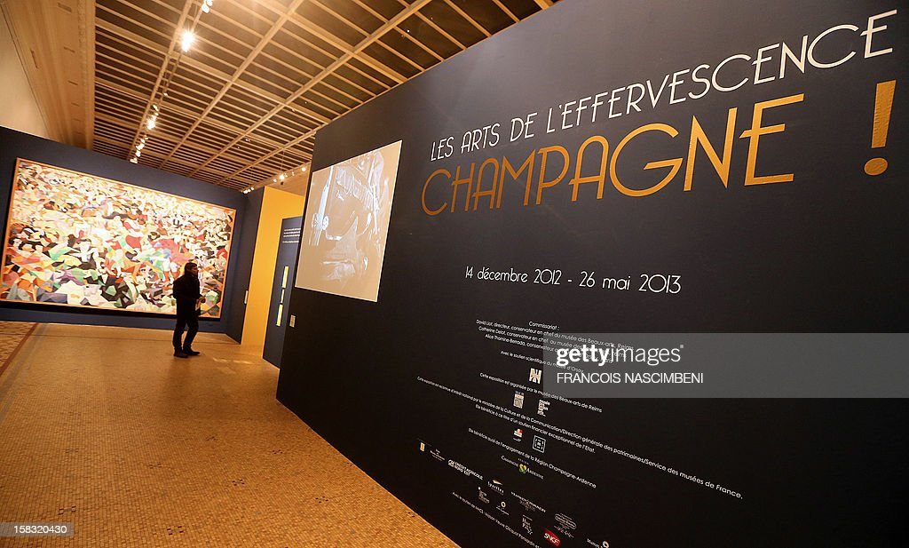 A picture taken on December 13, 2012 at the Beaux-Arts Museum in Reims shows the entrance of an exhibition dedicated to Champagne called 'Les Arts de l'effervescence. Champagne !', which run till May 26, 2013.