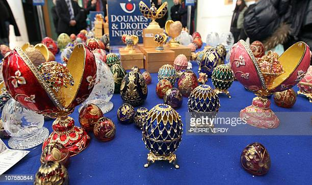 Picture taken on December 14 2010 at French customs warehouse at Roissy CharlesdeGaulle airport north of Paris of a part of the 350 imitation Faberge...