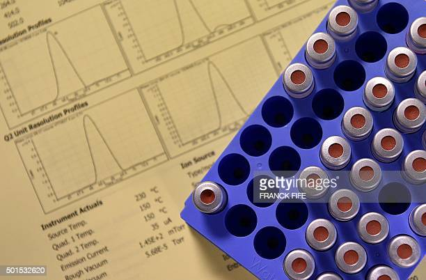 A picture taken on December 15 2015 shows tests' results at the French national antidoping laboratory in ChatenayMalabry outside Paris / AFP / FRANCK...