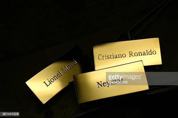 TOPSHOT A picture taken on December 15 2015 shows three plaques reading 'Cristiano Ronaldo' 'Lionel Messi' and 'Neymar' at the Mellerio jewellers in...