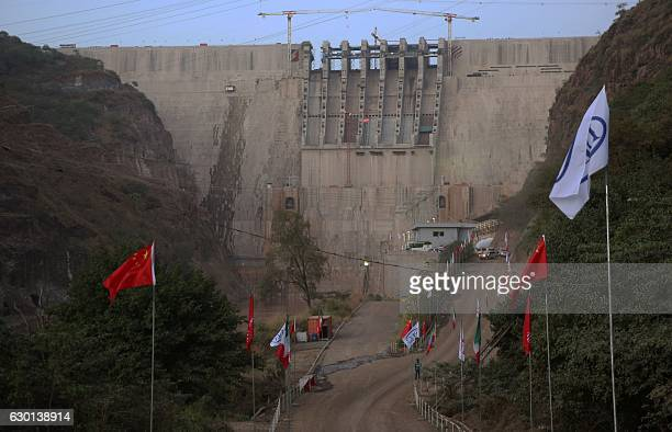 A picture taken on December 16 2016 shows the Gibe III dam in the Omo Valley Ethiopia on December 17 inaugurated a hydroelectric dam that aims to...