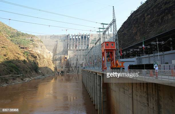 A picture taken on December 17 2016 shows the Gibe III dam in the Omo Valley Ethiopia today inaugurated a hydroelectric dam that aims to double the...