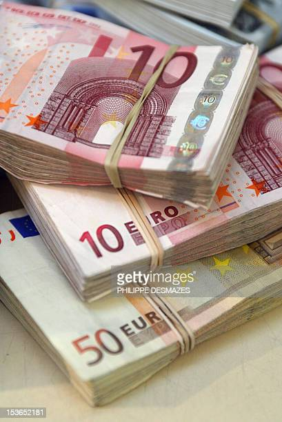 Picture taken on December 18 2003 in Paris showing Euro bank notes The euro plunged to its lowest level since April 2006 in volatile Tokyo trade on...