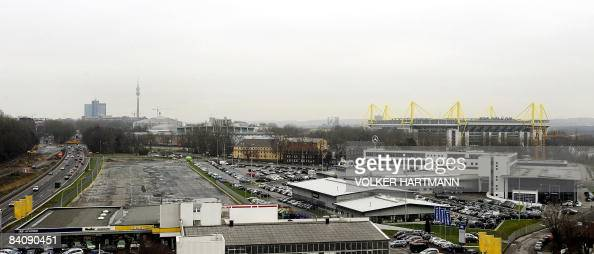 Picture taken on December 18 2008 shows parts of the western German city of Dortmund's city centre with the Signal Iduna Park stadium AFP PHOTO DDP /...