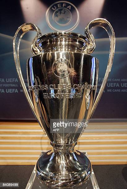 A picture taken on December 19 2008 in Nyon shows the UEFA Champions League Trophy during the draw for the last 16 phase of the UEFA Champions League...