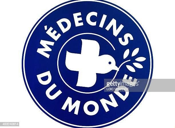 A picture taken on December 2 2010 in Paris shows the logo of Medecins du Monde French Medecins du Monde provide assistance to homeless people in a...