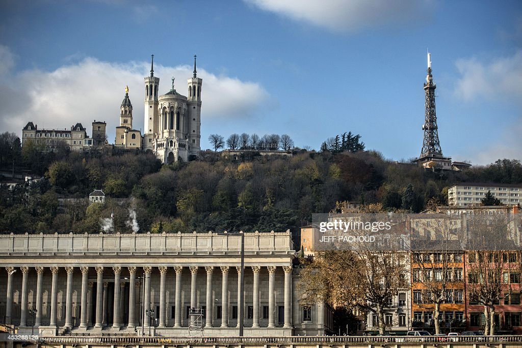 A picture taken, on December 2, 2013, of the Lyon metal tower located on the Fourviere hill, near the Fourviere basilica.