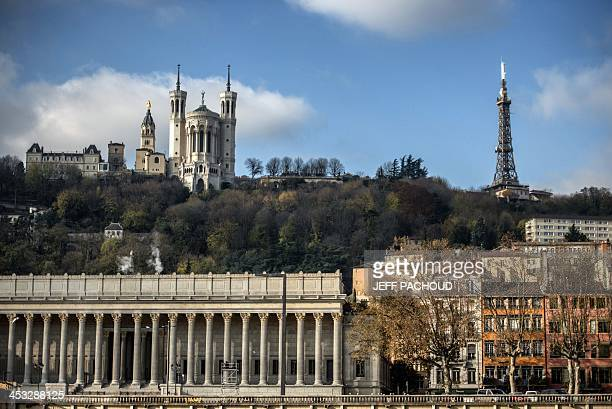 A picture taken on December 2 of the Lyon metal tower located on the Fourviere hill near the Fourviere basilica AFP PHOTO / JEFF PACHOUD