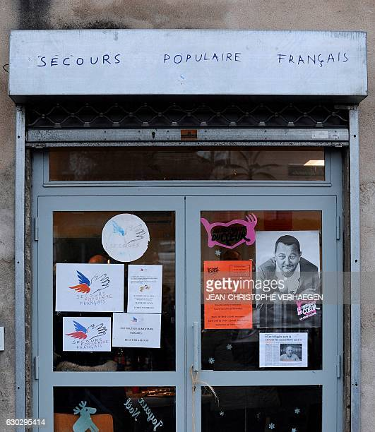 A picture taken on December 20 2016 shows the entrance to the 'Secours Populaire' of Hayange in Hayange eastern France French farright Front National...